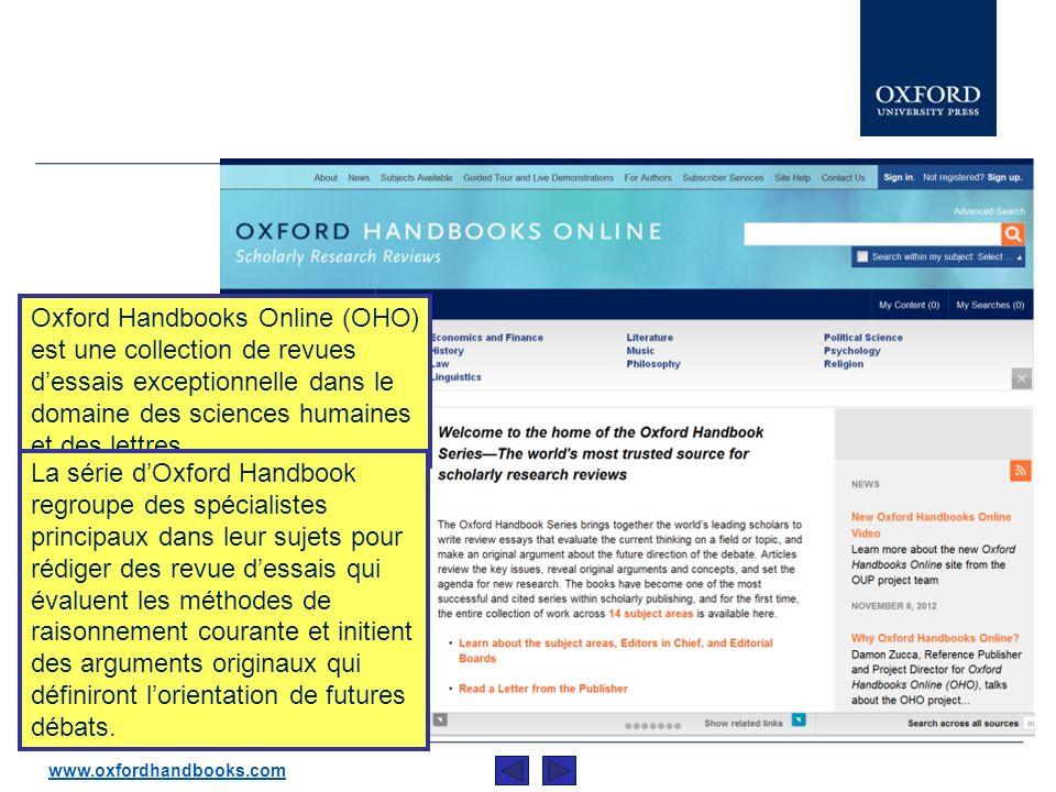 Cette présentation est un bref descriptif d Oxford Handbooks Online (OHO).