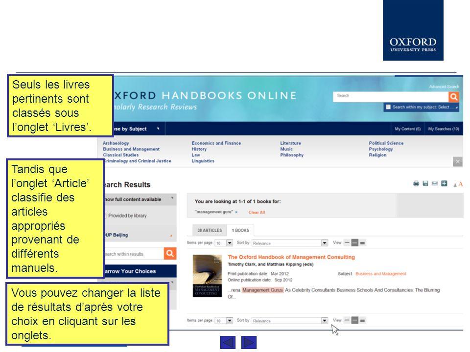 Les résultats sont organisés par Article... www.oxfordhandbooks.com... ou bien par Livres