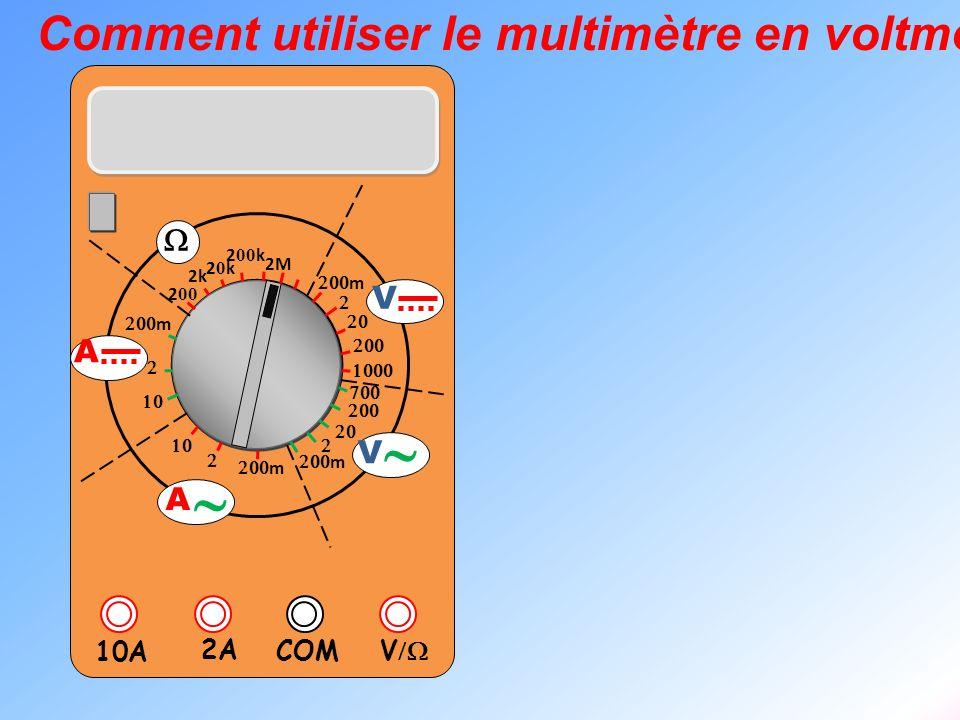 V 2A 10A COM m m 2k 20k20k 2 00 k 2 00 2M m m V V A A Comment utiliser le multimètre en voltmètre ?