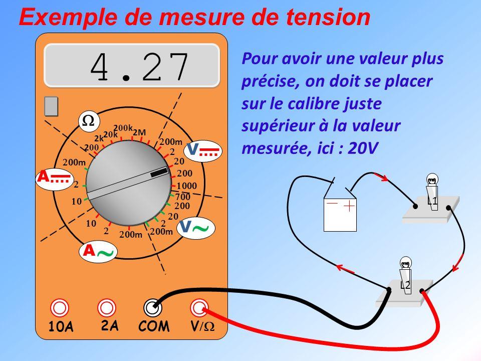V 2A 10A COM m m 2k 20k20k 2 00 k 2 00 2M m m V V A A Exemple de mesure de tension L1 L2 Pour avoir une valeur plus précise, on doit se placer sur le