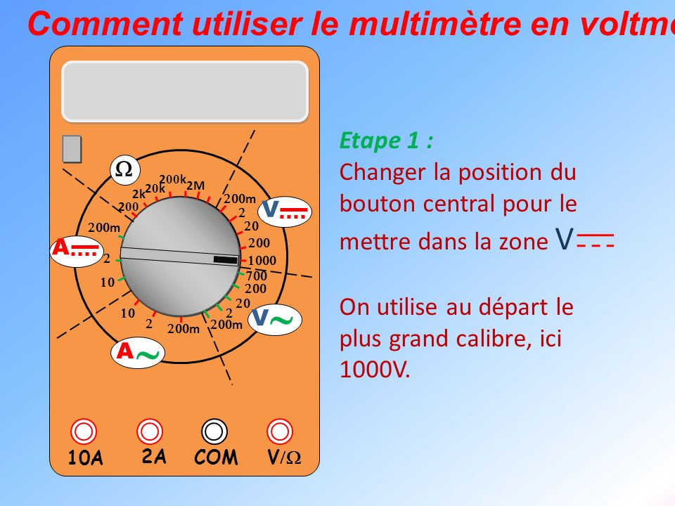 V 2A 10A COM m m 2k 20k20k 2 00 k 2 00 2M m m V V A A Comment utiliser le multimètre en voltmètre ? Etape 1 : Changer la position du bouton central po