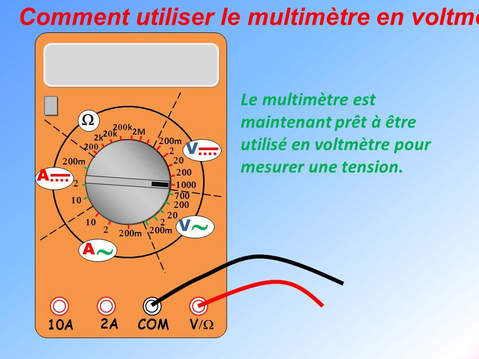 V 2A 10A COM m m 2k 20k20k 2 00 k 2 00 2M m m V V A A Comment utiliser le multimètre en voltmètre ? Le multimètre est maintenant prêt à être utilisé e