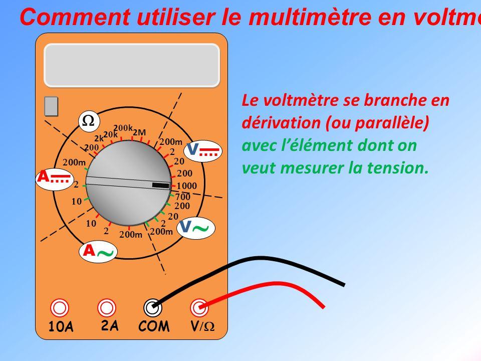 V 2A 10A COM m m 2k 20k20k 2 00 k 2 00 2M m m V V A A Comment utiliser le multimètre en voltmètre ? Le voltmètre se branche en dérivation (ou parallèl