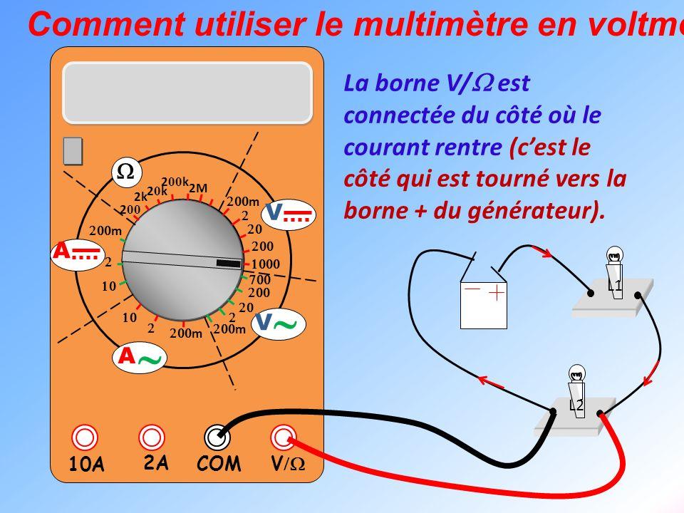 V 2A 10A COM m m 2k 20k20k 2 00 k 2 00 2M m m V V A A Comment utiliser le multimètre en voltmètre ? L1 L2 La borne V/ est connectée du côté où le cour