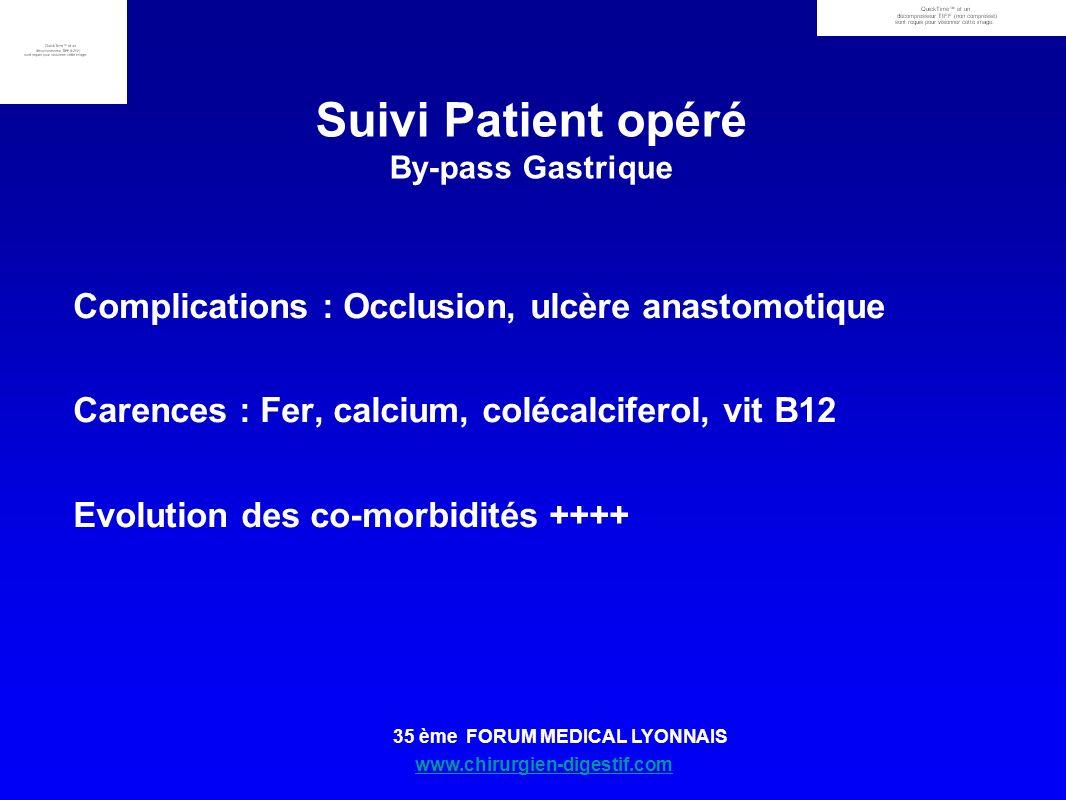 www.chirurgien-digestif.com 35 ème FORUM MEDICAL LYONNAIS Suivi Patient opéré By-pass Gastrique Complications : Occlusion, ulcère anastomotique Carenc