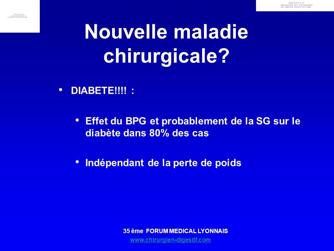 www.chirurgien-digestif.com 35 ème FORUM MEDICAL LYONNAIS Nouvelle maladie chirurgicale? DIABETE!!!! : Effet du BPG et probablement de la SG sur le di