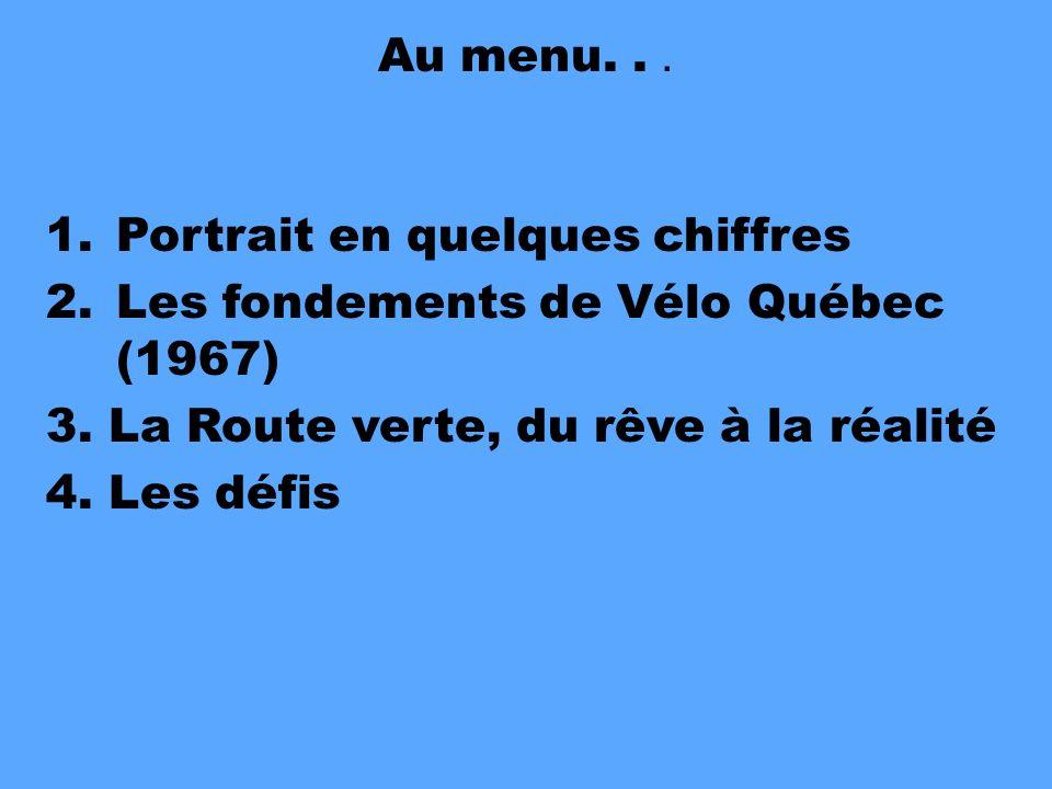 Au menu...1.Portrait en quelques chiffres 2.Les fondements de Vélo Québec (1967) 3.