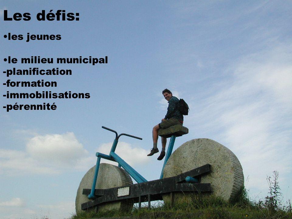 Les défis: les jeunes le milieu municipal -planification -formation -immobilisations -pérennité