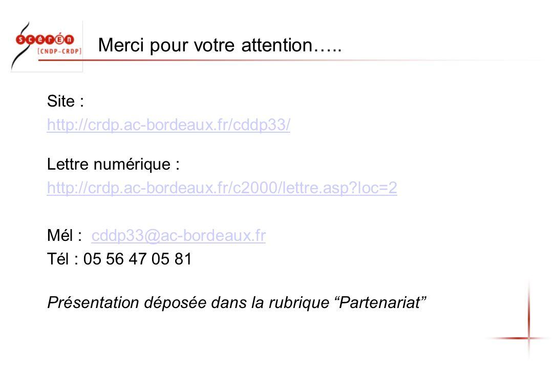 Merci pour votre attention….. Site : http://crdp.ac-bordeaux.fr/cddp33/ http://crdp.ac-bordeaux.fr/cddp33/ Lettre numérique : http://crdp.ac-bordeaux.