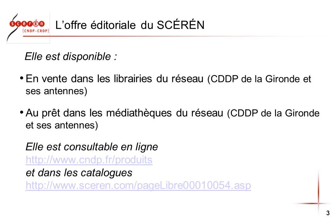 3 Loffre éditoriale du SCÉRÉN Elle est disponible : En vente dans les librairies du réseau (CDDP de la Gironde et ses antennes) Au prêt dans les média
