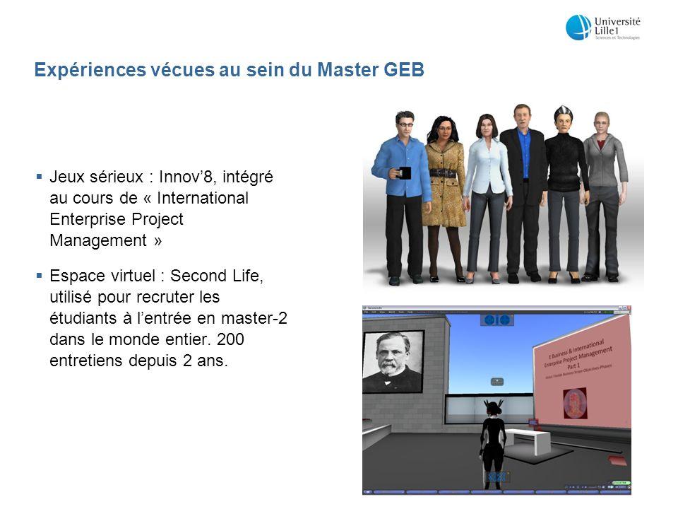 Expériences vécues au sein du Master GEB Jeux sérieux : Innov8, intégré au cours de « International Enterprise Project Management » Espace virtuel : Second Life, utilisé pour recruter les étudiants à lentrée en master-2 dans le monde entier.
