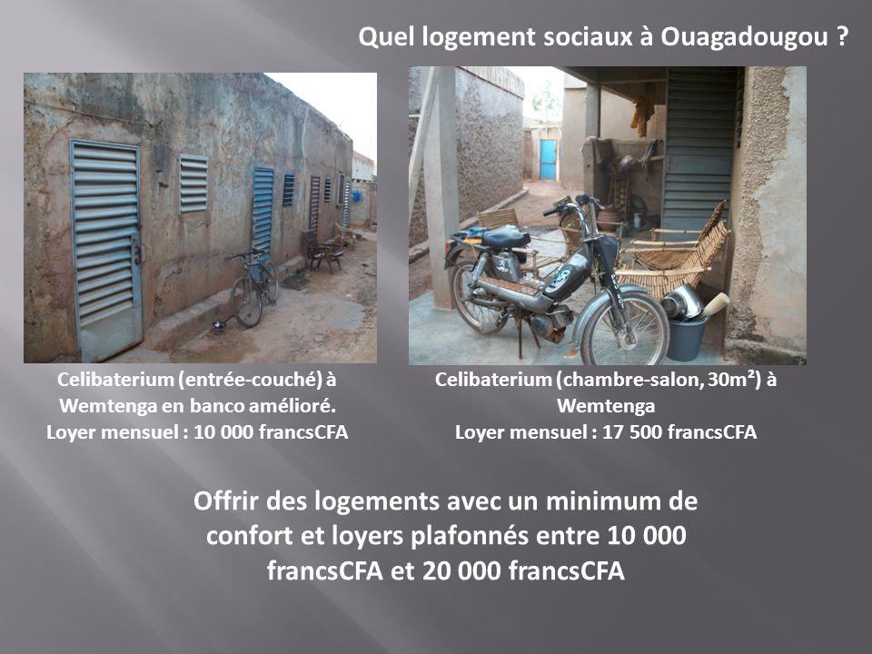 Celibaterium (entrée-couché) à Wemtenga en banco amélioré. Loyer mensuel : 10 000 francsCFA Quel logement sociaux à Ouagadougou ? Offrir des logements