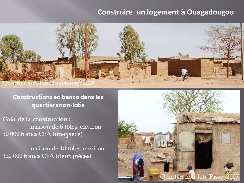 Construire un logement à Ouagadougou Constructions en banco dans les quartiers non-lotis Quartier non-loti, Taabtenga, 2008 Quartier non-loti, Pissy,