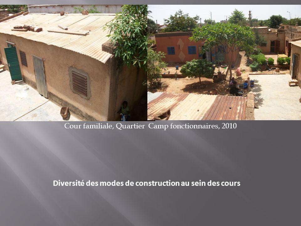 Diversité des modes de construction au sein des cours Cour familiale, Quartier Camp fonctionnaires, 2010