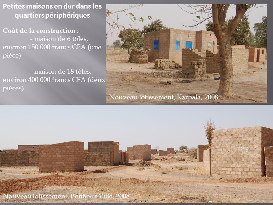 Petites maisons en dur dans les quartiers périphériques Nouveau lotissement, Karpala, 2008 Nouveau lotissement, Bonheur Ville, 2008 Coût de la constru