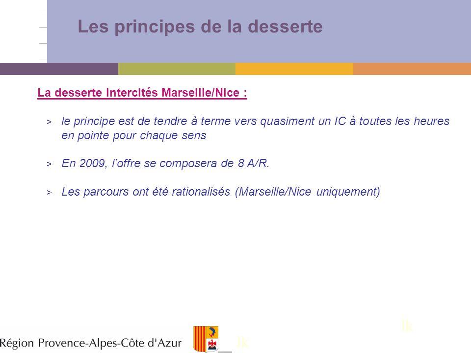 11 Les principes de la desserte lk La desserte Intercités Marseille/Nice : > le principe est de tendre à terme vers quasiment un IC à toutes les heure