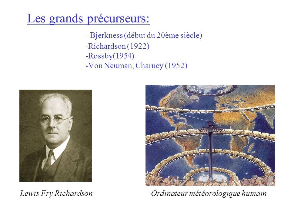 Les grands précurseurs: - Bjerkness (début du 20ème siècle) -Richardson (1922) -Rossby(1954) -Von Neuman, Charney (1952) Lewis Fry RichardsonOrdinateu