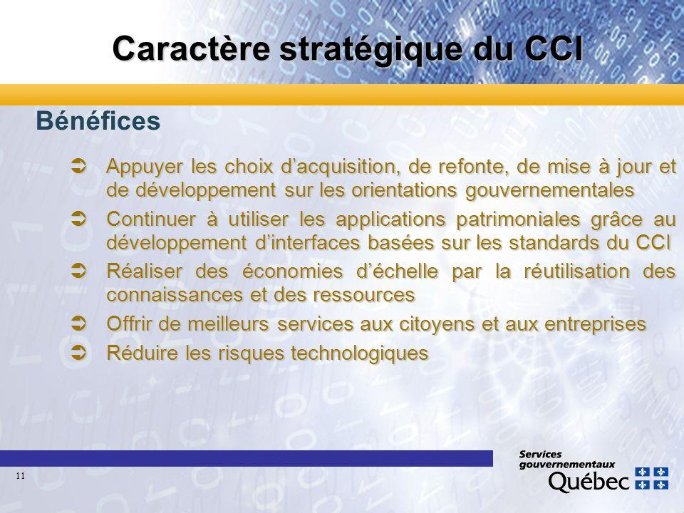 Caractère stratégique du CCI Bénéfices Appuyer les choix dacquisition, de refonte, de mise à jour et de développement sur les orientations gouvernemen
