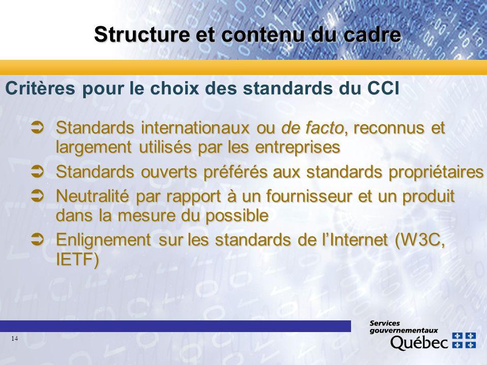 Structure et contenu du cadre Critères pour le choix des standards du CCI Standards internationaux ou de facto, reconnus et largement utilisés par les