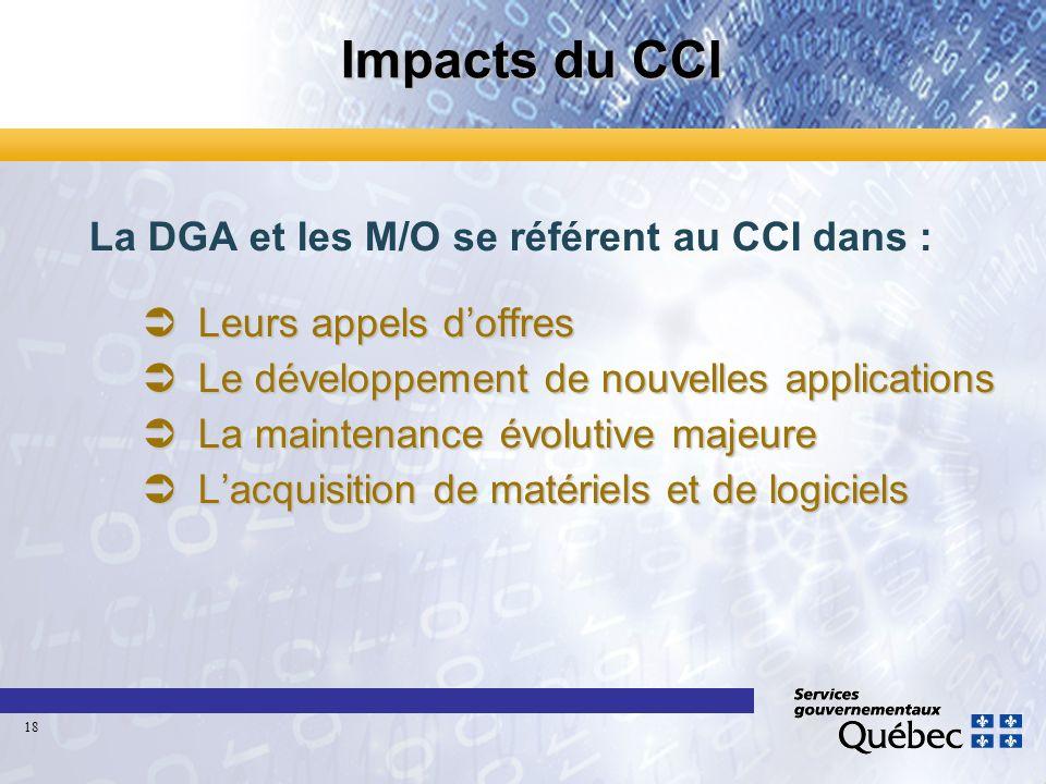 Impacts du CCI La DGA et les M/O se référent au CCI dans : Leurs appels doffres Leurs appels doffres Le développement de nouvelles applications Le dév