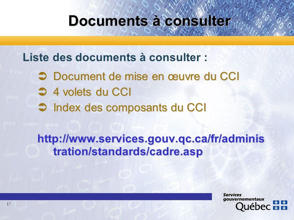 Documents à consulter Liste des documents à consulter : Document de mise en œuvre du CCI Document de mise en œuvre du CCI 4 volets du CCI 4 volets du