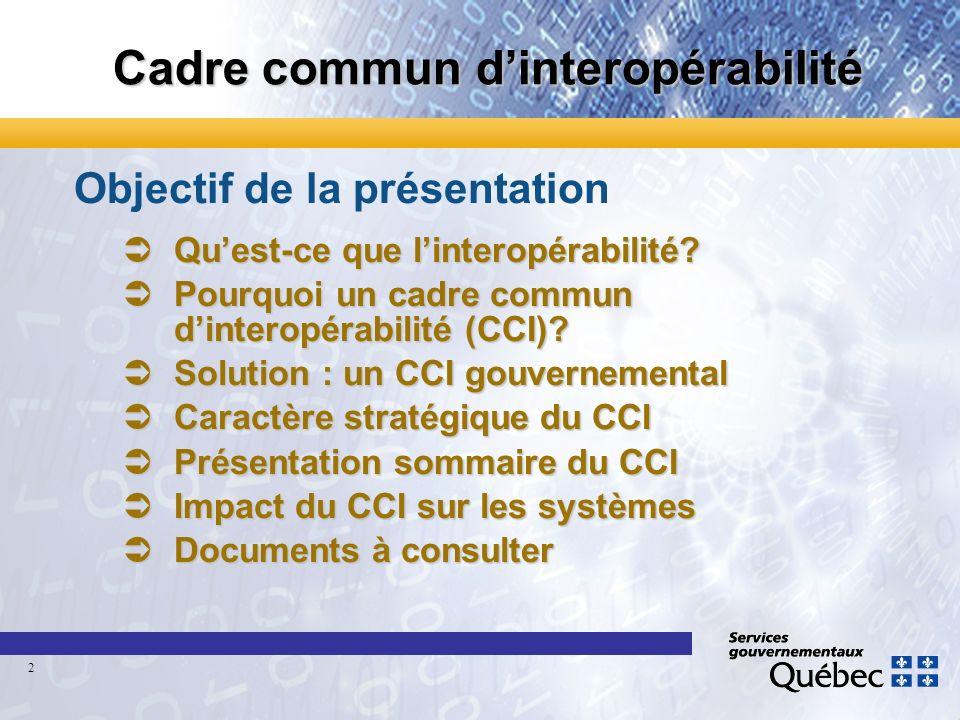 Cadre commun dinteropérabilité Objectif de la présentation Quest-ce que linteropérabilité? Quest-ce que linteropérabilité? Pourquoi un cadre commun di
