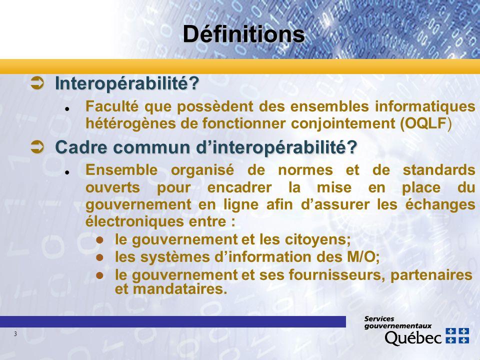 Définitions Interopérabilité? Interopérabilité? Faculté que possèdent des ensembles informatiques hétérogènes de fonctionner conjointement (OQLF) Cadr