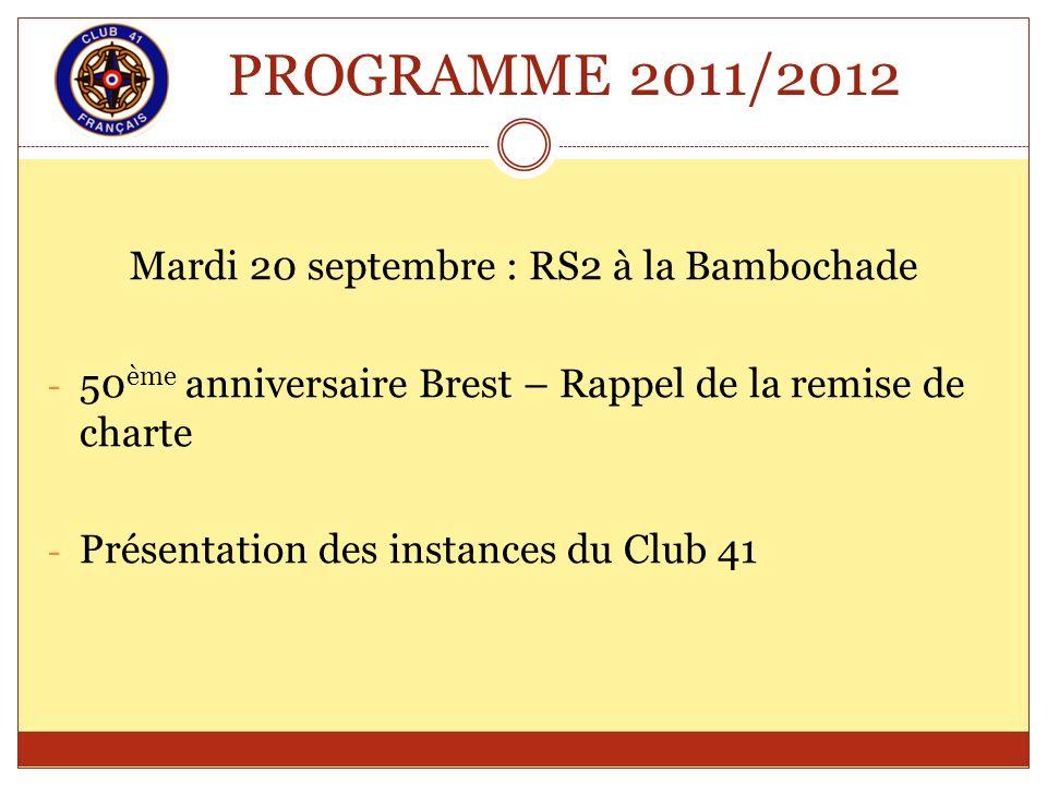 PROGRAMME 2011/2012 Mardi 20 septembre : RS2 à la Bambochade - 50 ème anniversaire Brest – Rappel de la remise de charte - Présentation des instances