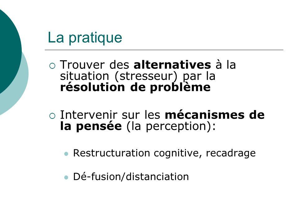 La pratique Trouver des alternatives à la situation (stresseur) par la résolution de problème Intervenir sur les mécanismes de la pensée (la perception): Restructuration cognitive, recadrage Dé-fusion/distanciation