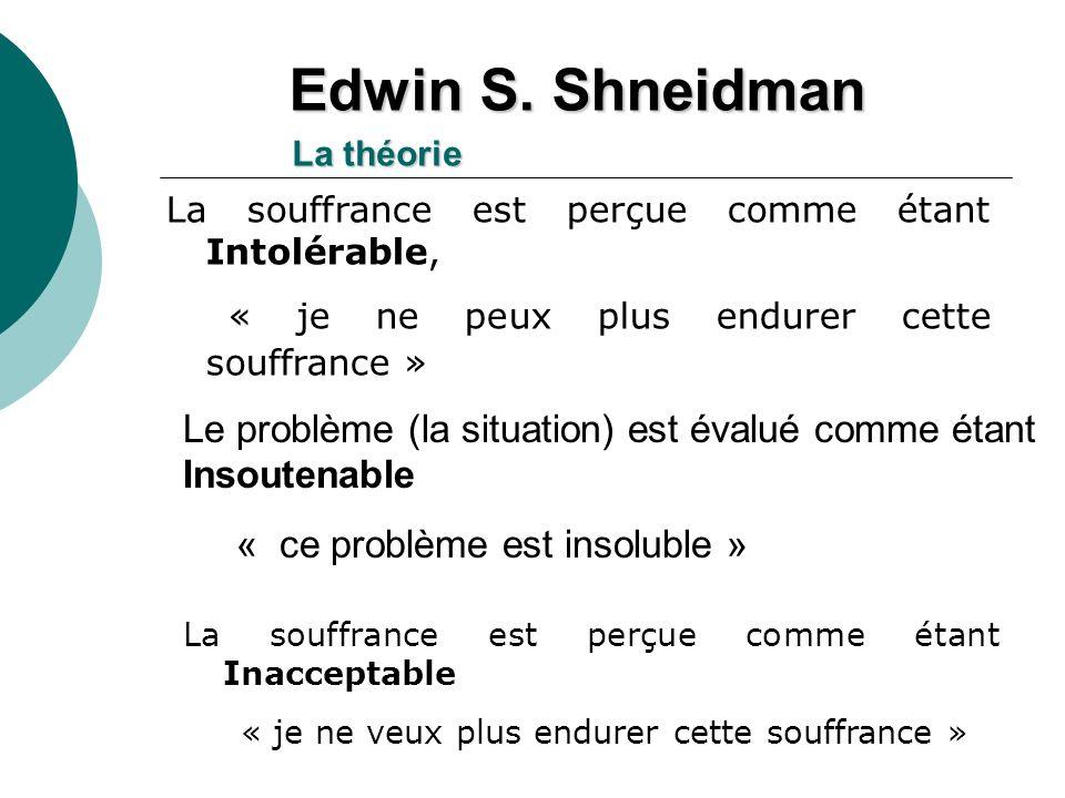 La souffrance est perçue comme étant Inacceptable « je ne veux plus endurer cette souffrance » La souffrance est perçue comme étant Intolérable, « je ne peux plus endurer cette souffrance » Edwin S.