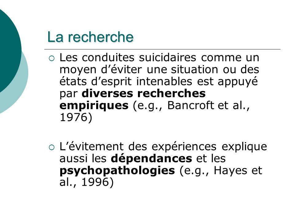 La recherche Les conduites suicidaires comme un moyen déviter une situation ou des états desprit intenables est appuyé par diverses recherches empiriques (e.g., Bancroft et al., 1976) Lévitement des expériences explique aussi les dépendances et les psychopathologies (e.g., Hayes et al., 1996)