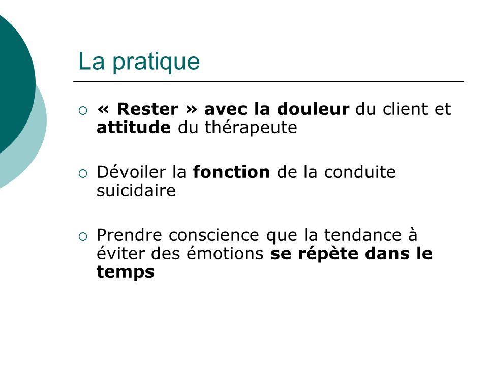 La pratique « Rester » avec la douleur du client et attitude du thérapeute Dévoiler la fonction de la conduite suicidaire Prendre conscience que la tendance à éviter des émotions se répète dans le temps