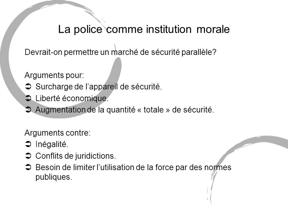 La police comme institution morale Devrait-on permettre un marché de sécurité parallèle.