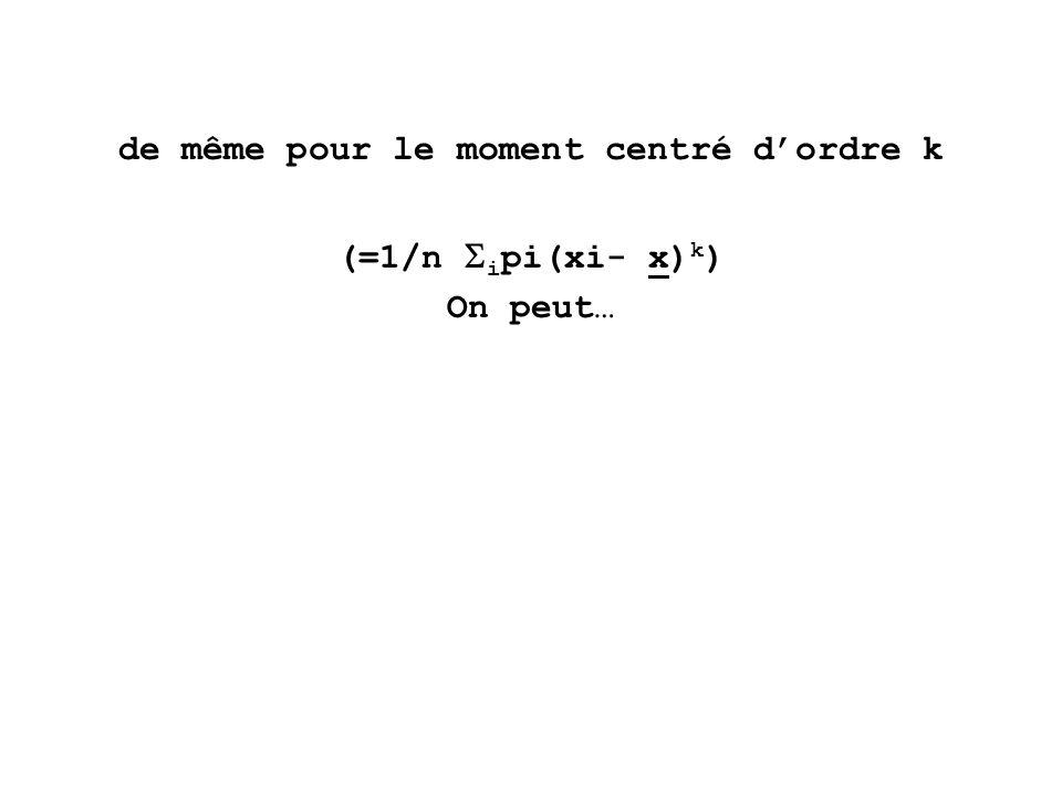 de même pour le moment centré dordre k (=1/n i pi(xi- x) k ) On peut…