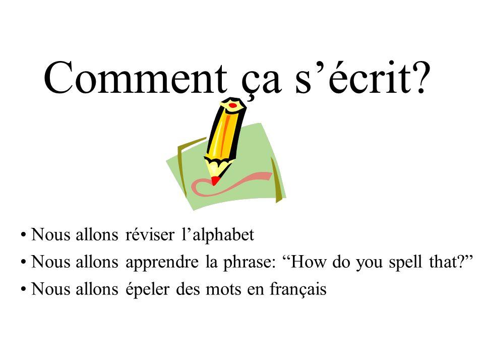 Comment ça sécrit? Nous allons réviser lalphabet Nous allons apprendre la phrase: How do you spell that? Nous allons épeler des mots en français