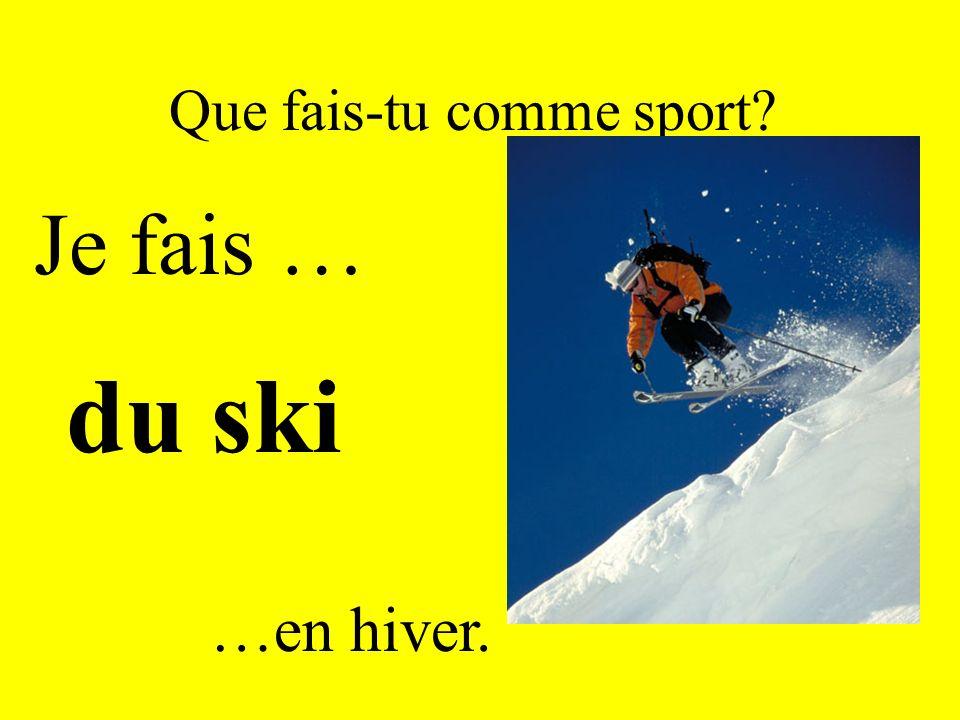 Que fais-tu comme sport? Je fais … du ski …en hiver.