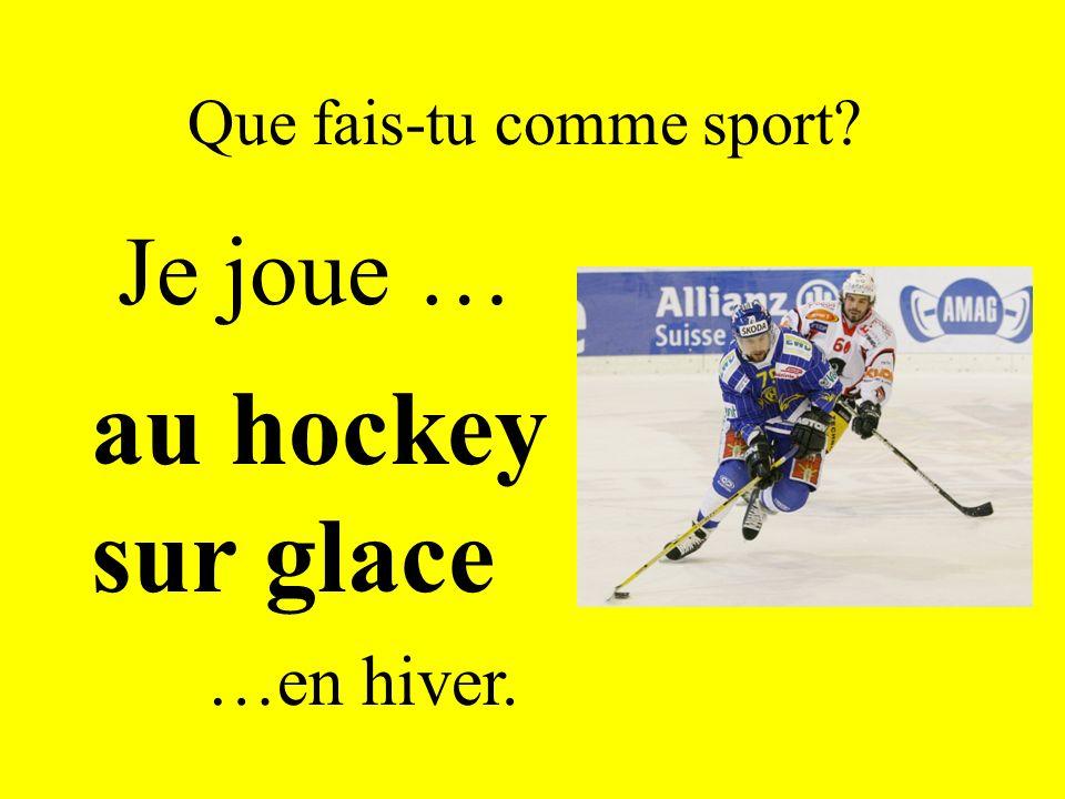 Que fais-tu comme sport? Je joue … au hockey sur glace …en hiver.