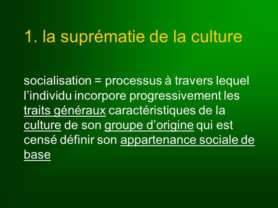 4 types de traits culturels (Linton) les traits généraux : noyau de la culture dune société, communs à tous les membres les traits spécialisés : communs à certaines catégories qui partagent le même statut