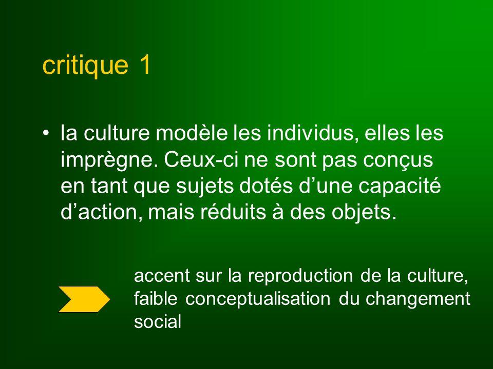 critique 1 la culture modèle les individus, elles les imprègne. Ceux-ci ne sont pas conçus en tant que sujets dotés dune capacité daction, mais réduit