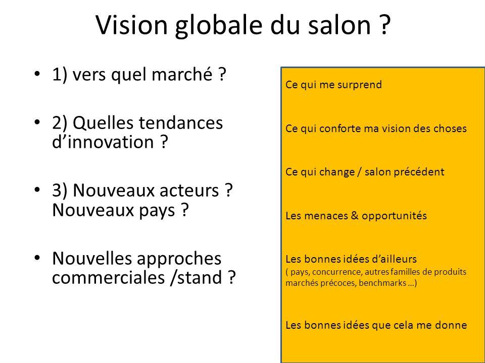 Vision globale du salon ? 1) vers quel marché ? 2) Quelles tendances dinnovation ? 3) Nouveaux acteurs ? Nouveaux pays ? Nouvelles approches commercia