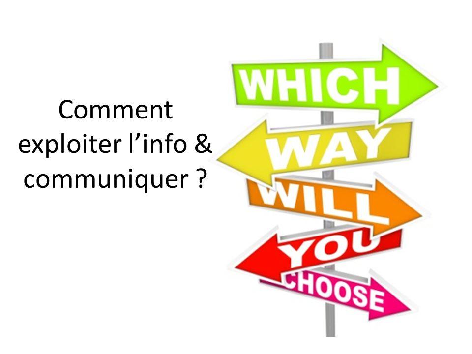 Comment exploiter linfo & communiquer ?