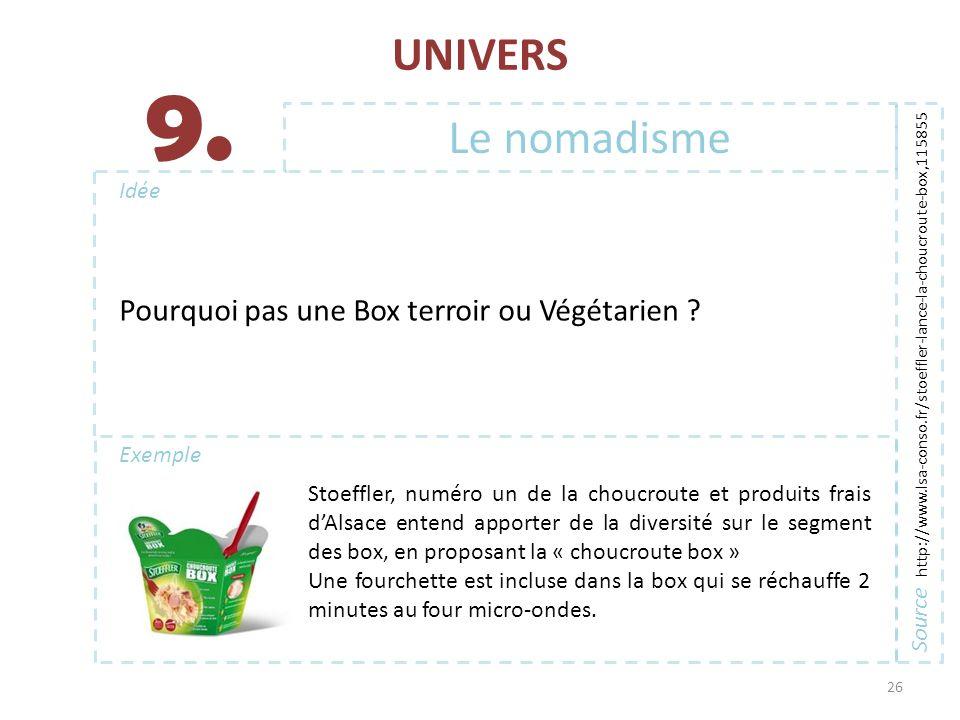 UNIVERS 26 Exemple Idée 9. Source http://www.lsa-conso.fr/stoeffler-lance-la-choucroute-box,115855 Le nomadisme Stoeffler, numéro un de la choucroute