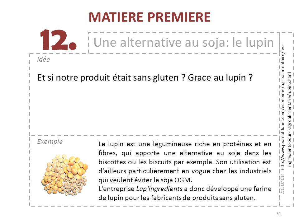31 Exemple Idée 12. MATIERE PREMIERE Une alternative au soja: le lupin Le lupin est une légumineuse riche en protéines et en fibres, qui apporte une a