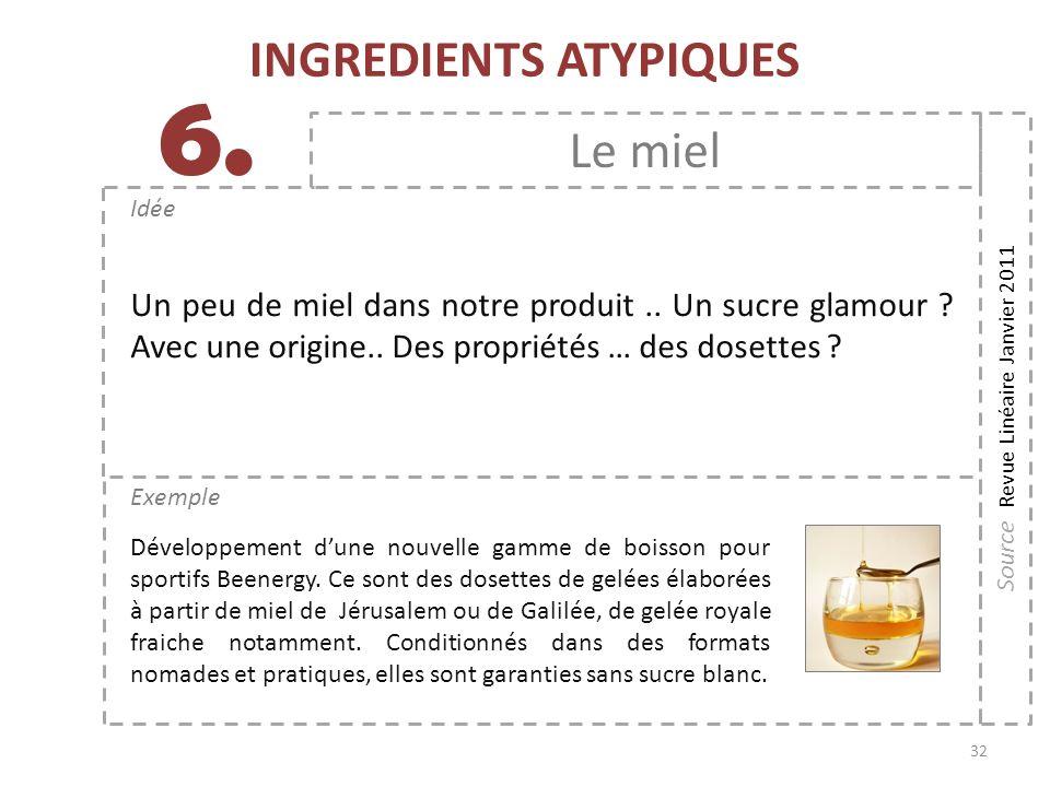 32 Exemple Idée 6. INGREDIENTS ATYPIQUES Le miel Un peu de miel dans notre produit.. Un sucre glamour ? Avec une origine.. Des propriétés … des dosett