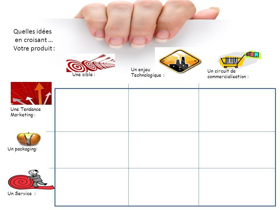 Quelles idées en croisant … Votre produit : Une cible : Un circuit de commercialisation : Un enjeu Technologique : Une Tendance Marketing : Un Service
