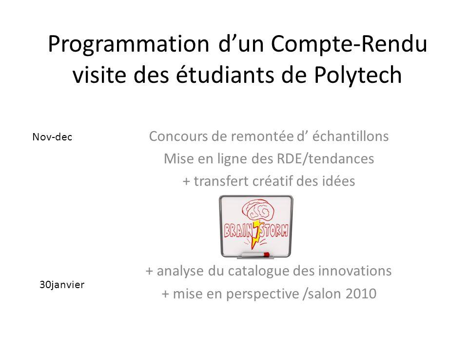 Programmation dun Compte-Rendu visite des étudiants de Polytech Concours de remontée d échantillons Mise en ligne des RDE/tendances + transfert créati