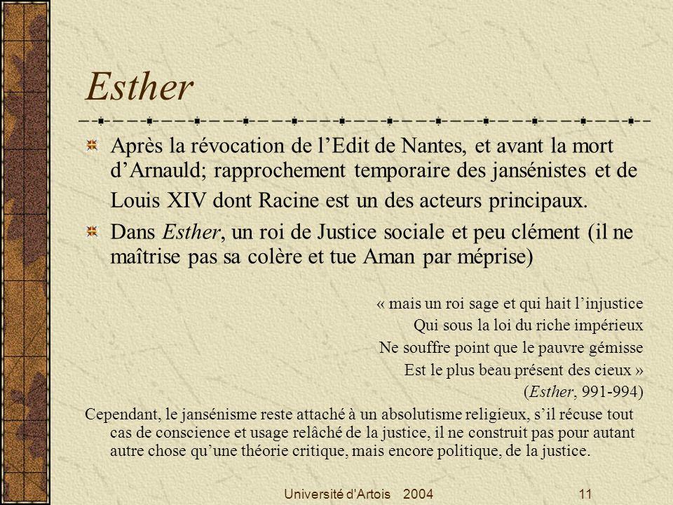 Université d'Artois 200411 Esther Après la révocation de lEdit de Nantes, et avant la mort dArnauld; rapprochement temporaire des jansénistes et de Lo