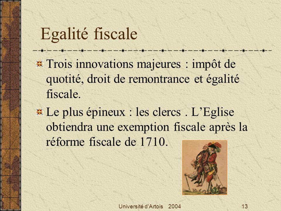 Université d'Artois 200413 Egalité fiscale Trois innovations majeures : impôt de quotité, droit de remontrance et égalité fiscale. Le plus épineux : l