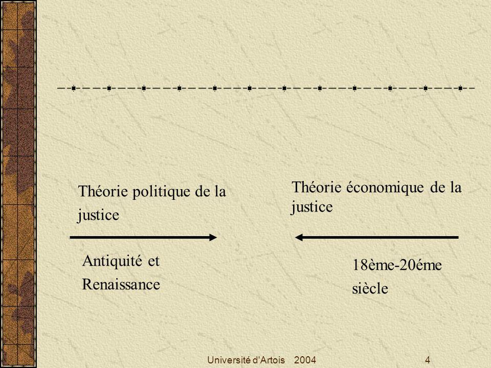 Université d'Artois 20044 Théorie politique de la justice Théorie économique de la justice 18ème-20éme siècle Antiquité et Renaissance