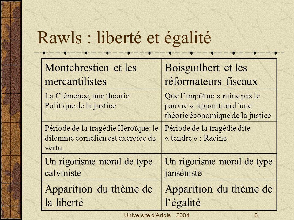 Université d'Artois 20046 Rawls : liberté et égalité Montchrestien et les mercantilistes Boisguilbert et les réformateurs fiscaux La Clémence, une thé